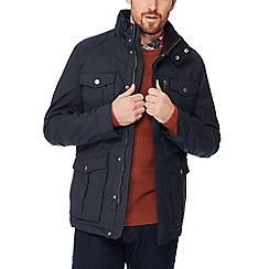 Racing Green - Big and tall navy coated cotton jacket