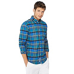 Racing Green - Big and tall blue checked oxford shirt
