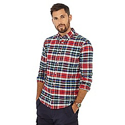 Racing Green - Red tartan print long sleeve tailored fit Oxford shirt