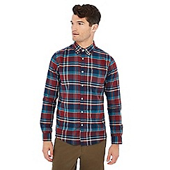 Racing Green - Big and tall plum check print cotton long sleeve tailored fit shirt