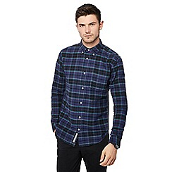 Racing Green - Dark blue check print long sleeve tailored fit Oxford shirt