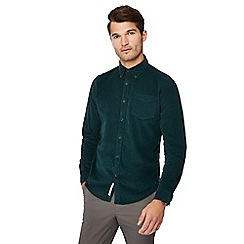 Racing Green - Dark green cord long sleeve tailored fit shirt