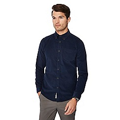 Racing Green - Navy cord long sleeve regular fit shirt