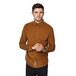 Racing Green - Tan cord long sleeve regular fit shirt