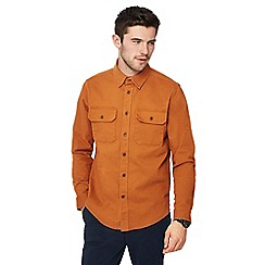 Racing Green - Big and tall orange twill long sleeve regular fit overshirt