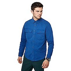Racing Green - Bright blue twill long sleeve regular fit overshirt