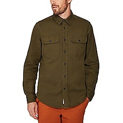 Racing Green - Khaki twill long sleeve regular fit overshirt