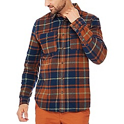 Racing Green - Orange check print long sleeves tailored fit shirt
