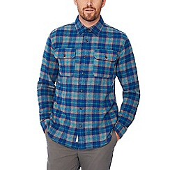 Racing Green - Blue checked cotton long sleeve tailored fit overshirt