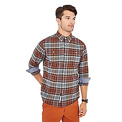 Racing Green - Big and tall grey tartan print long sleeve tailored fit shirt