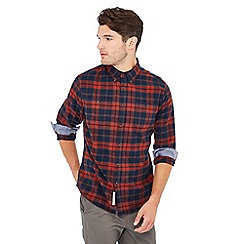 Racing Green - Big and tall orange check print cotton long sleeve tailored fit shirt