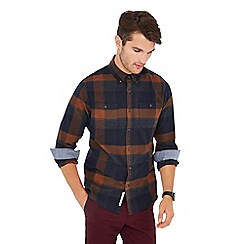 Racing Green - Navy check print cotton long sleeve tailored fit shirt