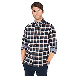 Racing Green - Big and tall navy check print long sleeve tailored fit shirt