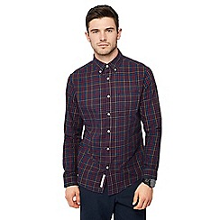 Racing Green - Navy checked long sleeve tailored fit shirt