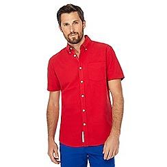 Racing Green - Red button down collar short sleeve regular fit Oxford shirt