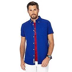 Racing Green - Blue button down collar short sleeve regular fit Oxford shirt