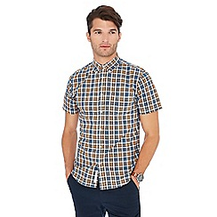 Racing Green - Blue check print cotton short sleeve tailored fit shirt