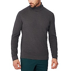 Racing Green - Big and tall grey waffle knit cotton roll neck jumper