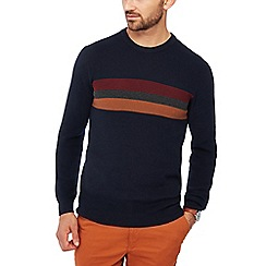 Racing Green - Navy chest stripe knitted cotton jumper