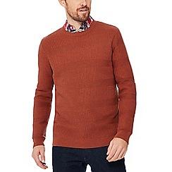 Racing Green - Dark orange waffle knit jumper