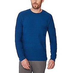 Racing Green - Big and tall mid blue waffle knit jumper