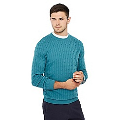 Racing Green - Big and tall turquoise cable knit jumper