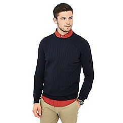 Racing Green - Big and tall navy cable knit jumper