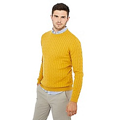 Racing Green - Big and tall mustard cable knit jumper