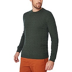 Racing Green - Big and tall olive cable knit jumper