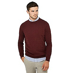 Racing Green - Big and tall dark red cable knit jumper