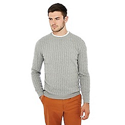 Racing Green - Grey cable knit jumper
