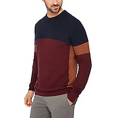 Racing Green - Maroon striped panel cotton jumper
