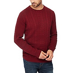 Racing Green - Red cable knit cotton jumper