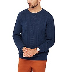 Racing Green - Big and tall navy cable knit cotton jumper