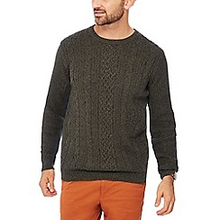 Racing Green - Big and tall khaki cable knit cotton jumper
