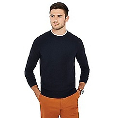 Racing Green - Big and tall navy ribbed jumper