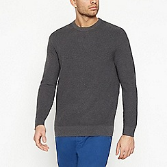 Racing Green - Big and tall dark grey ribbed jumper