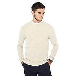 Racing Green - Big and tall cream ribbed jumper