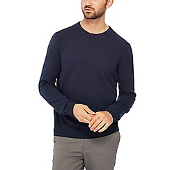 Racing Green - Navy textured knit cotton jumper