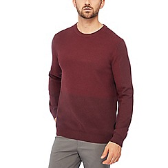 Racing Green - Maroon textured knit cotton jumper