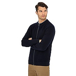 Racing Green - Navy towelling zip through sweater