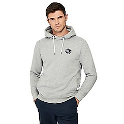 Racing Green - Big and tall grey embroidered logo hoodie