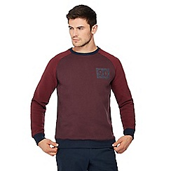 Racing Green - Big and tall maroon contrast sleeve sweatshirt