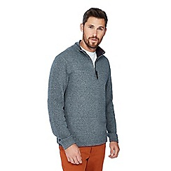 Racing Green - Grey French rib zip neck jumper