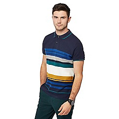 Racing Green - Maroon striped tailored fit polo shirt