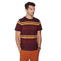 Racing Green - Maroon stripe print cotton t-shirt