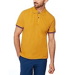 Racing Green - Mustard tipped cotton polo shirt