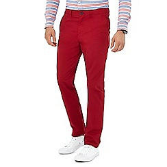Racing Green - Red straight fit chinos