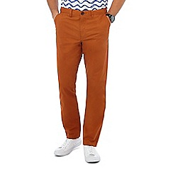 Racing Green - Dark orange straight fit chinos