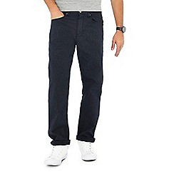 Racing Green - Navy pindot straight fit trousers